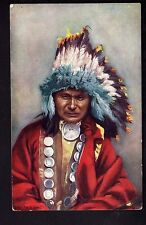 INDIEN Raphael TUCK  chef indien RED OWL coiffe plumes