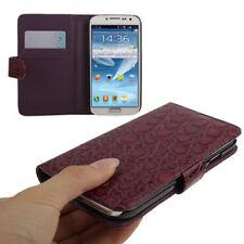 Book Tasche Croco Style für Samsung i9500 Galaxy S4 in lila Hülle Case Cover