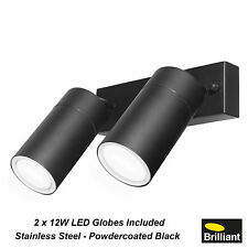 BLACK LED Stainless Steel Outdoor Adjustable Double Wall Lights 2 x 12W GU10