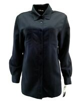 Style&co. Womens Shirt S Small Button Down Long Sleeve Navy Blue Pockets $40 New