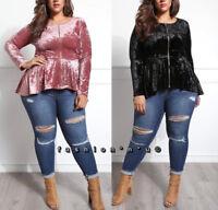Plus Hi Low Peplum Ruffle Fashion Shirt Jacket Top Crushed Velour Velvet