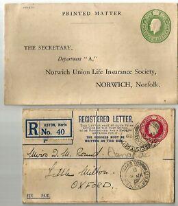 GB 1920 used Registered letter 4 1/2d + Printed matter card Postage 1/2 d King G