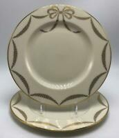 Presentation Ivory Accent Lenox 2 Salad Plates Cream Gold Bow Swags & Trim USA
