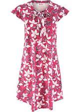 Baumwoll-Jerseykleid bedruckt Gr 48/50 Granatapfelrot Geblümt Freizeitkleid Neu*