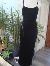 MILLENIUM PARIS robe bretelles longue polyester elastane velours noir taille 38