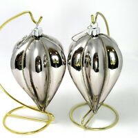 2 Christmas Ornaments - Silver Colored Mirrored Glass Icicle