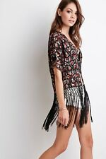 NWT New Forever 21 Fringe Floral Embroidered Kimono Cardigan Black Small S