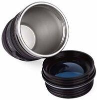 Camera Lens Coffee Mug Cup Tea Travel Thermos Cup 12 oz (Transparent Lid)
