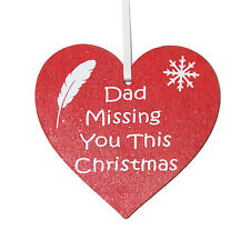 Dad Missing you this Christmas red heart memorial Christmas tree decoration