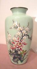 antique Japanese Ando cloisonne sterling silver enamel light green floral vase
