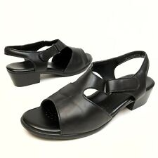 SAS Suntimer Sandals Black Leather Slingback Sz 9.5W Comfort Block Open toe (11