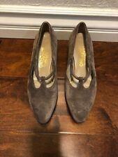 Salvatore Ferragamo Suede Gray Almond Toe Strap Pump Size 7B Us