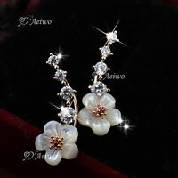 18K WHITE ROSE GOLD GF CRYSTAL SHELL EARRINGS STUD FLOWER CUTE EAR CLIMBERS