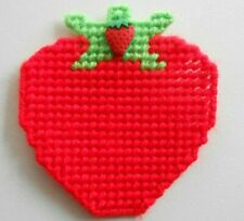Plastic Canvas Strawberry Magnet Handmade Finished
