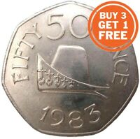 50P GUERNSEY ELIZABETH 2ND CHOICE OF DATE 1969 TO 2012 FIFTY PENCE OLD AND NEW