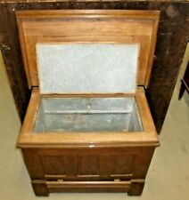 Antique Oak Ice Box Chest Panel Sides Front Back Top