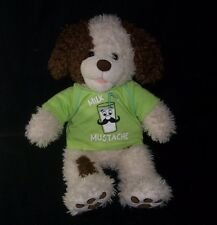 BUILD A BEAR BROWN WHITE PUPPY DOG MUSTACHE SHIRT STUFFED ANIMAL PLUSH TOY BABW