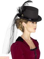 Ladies Deluxe Victorian Top Hat Adults Halloween Vampire Fancy Dress Accessory
