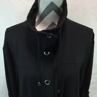 ZENERGY by CHICOS Black Long Sleeve Snap Closure Drawstring JACKET Pockets 3 KK8