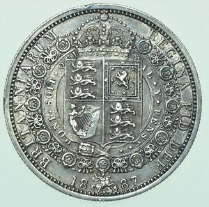 1887 VICTORIA JUBILEE HEAD HALFCROWN, BRITISH SILVER COIN EF