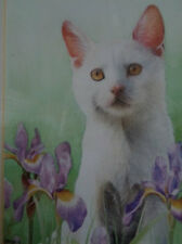 Vintage Painting White Cat Fine Art  With Irises Highly detailed J Bingham