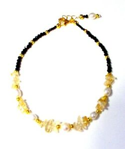 Gorgeous Large Gold-Plated Black Spinel, Citrine, Pearl Ankle Bracelet Anklet S2