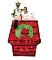 26-Inch Pre-Lit 3D Peanuts Snoopy on Dog House Christmas Yard Decor