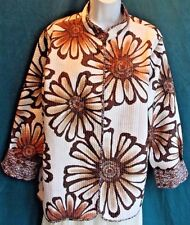 ALFRED DUNNER Reversible Lightwt Quilted Open Jacket Sz 18 Floral to Geometric