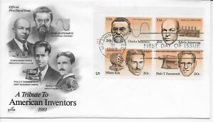 US Scott #2055-58, First Day Cover 9/2/83 Washington Plate Block Inventors