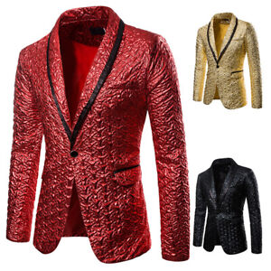Mens Prom Formal Dress Business Suit Gold Blazer Stage One Button Coats Jackets
