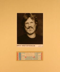 KRIS KRISTOFFERSON 1978 NATURAL ACT TOUR MATTED POSTER & UNUSED TICKET / EX 2 NM