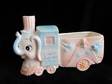 Vintage DIAPER EXPRESS Choo Choo Train Elephant Nursery Baby Planter Pink Blue