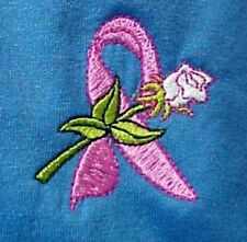Breast Cancer T-Shirt Medium Pink Ribbon Rose Blue S/S Crew Neck Unisex New