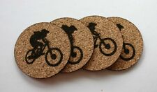 Mountain Bike Etched Cork Coasters Set of 4 Biker Gift Bar Coasters Drink