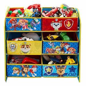Huellas Patrol Niños Almacenaje Unidad Seis Tela Papeleras Organizador Playroom