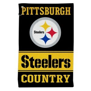 """PITTSBURGH STEELERS ALL PURPOSE GOLF TAILGATE TOWEL 16""""X25"""" HOOK AND GROMMET"""