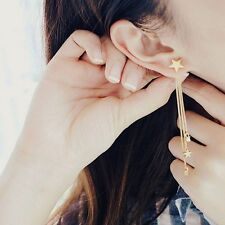 New Woman Fashion Five-pointed Star Long Tassel Chain Stud Earrings Jewelry Gift