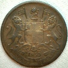 1853 C East India 1/2 Pice Copper Coin Km #464 YG You Grade K108