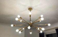 Large Original Brass Vintage Sputnik 18 Bulb Retro Ceiling Chandelier