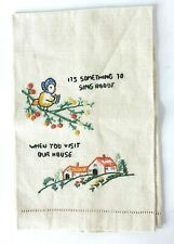 Vintage Embroidered Linen Guest Hand Fingertip Towel Bird House Hemstitched