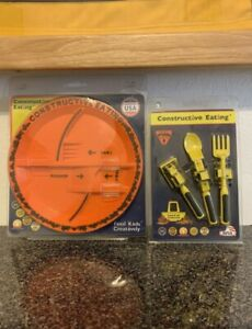 Constructive Eating Combo Set (4 Pieces) Plate And Utensils BNIB