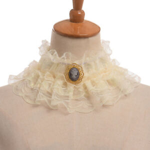 Vintage Elizabethan Victorian Opera Cosplay Ruffled Collar With Cameo Neck Ruff