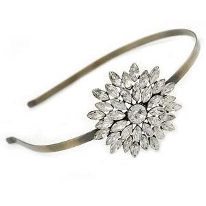 Bridal/ Wedding/ Prom Clear Crystal Flower Tiara Headband In Bronze Tone Metal