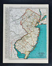 c. 1935 McNally Map - New Jersey - Trenton Princeton Newark Atlantic City Camden