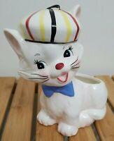 Vintage Napco White Anthropomorphic Big Eye French Beret Cat Ceramic Planter