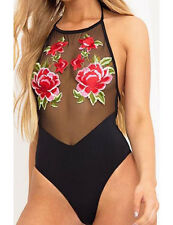 Sexy Women Floral Embroidery One-Piece Swimsuit Push Up Bikini Bathing Beachwear