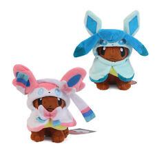 "2Pcs Pokemon Eevee Poncho Sylveon and Glaceon Cloak Soft Plush Doll 8"""