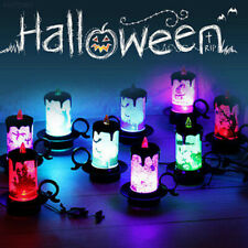Halloween Colourful Candle Flash LED Lantern Night Light Pumpkin Party Lamp New
