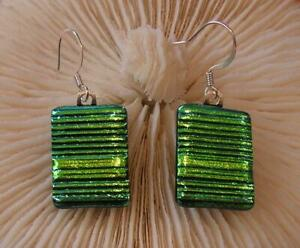 "HANDMADE DICHROIC GLASS TAC FIRED EARRINGS : "" BEAUTIFUL GREEN TEXTURED DANGLE """
