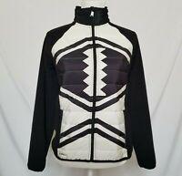 LRL Active Ralph Lauren Womens M Quilted Fleece Jacket Full Zip Black White